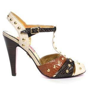 🌺Host Pick🌺 Betsey Johnson gold studded peep toe